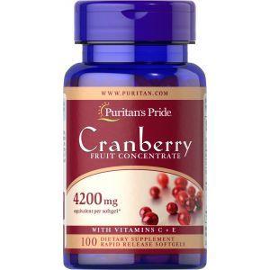 Клюква с витаминами С и Е, Cranberry Fruit Concentrate, Puritan's Pride, фруктовый концентрат, 4200 мг, 100 гелевых капсул