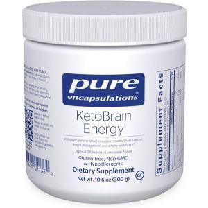 Кетоны для энергии мозга и и спортивной выносливости, KetoBrain Energy, Pure Encapsulations, клубнично-лимонадный вкус, 300 г