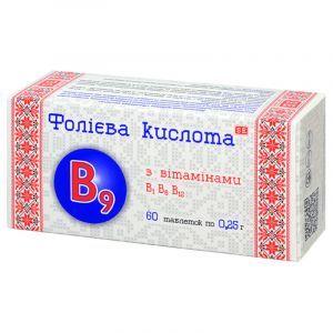Фолиевая кислота, Фармаком, с витаминами В1, В6, В12, 250 мг, 60 таблеток