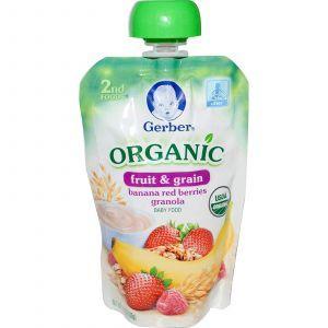 Детское пюре из бананов, ягод и зерна (2nd Foods, Organic, Baby Food), Gerber, 99 г