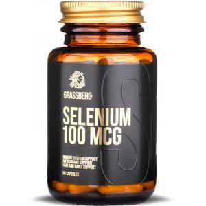 Селен, Selenium, Grassberg, 100 мкг, 60 капсул