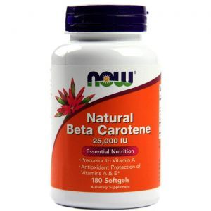 Бета каротин, Beta Carotene? Now Foods, 25,000 ME, 180 капс