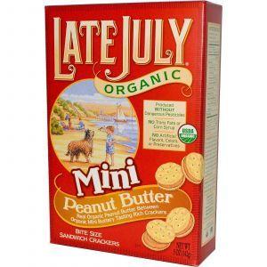 Органические мини крекеры-сэндвичи с арахисовым маслом (Crackers), Late July, 142 г.