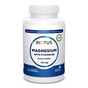 Магний и витамин В6, Magnesium with Vitamin B6, Biotus, экстра сильный, 150 капсул