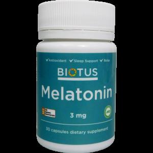 Мелатонин, Melatonin, Biotus, 3 мг, 30 капсул