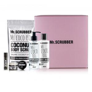 Набор Кокосовый (скраб для тела, гель для душа, гидрогель для тела, скраб и бальзам для губ ), Set, Mr. Scrubber