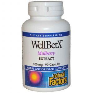 Шелковица, Natural Factors, 100 мг, 90 капсул