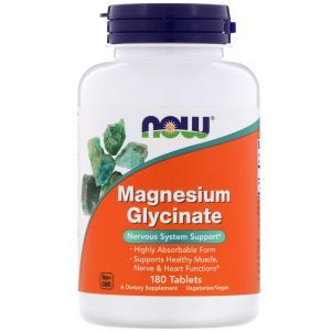 Магний глицинат, Magnesium Glycinate, Now Foods, 180 таблеток