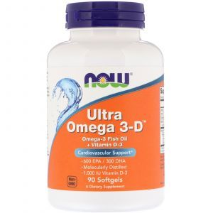 Омега 3 + витамин Д3, Ultra Omega 3-D, Now Foods, 90 капсул