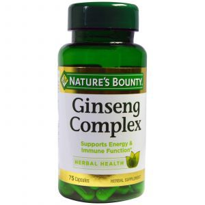 Женьшень, Ginseng Complex, Nature's Bounty, 75 капсул