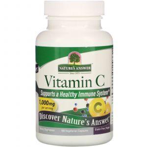 Витамин С, Vitamin C, Nature's Answer, 1000 мг, 100 вегетарианских капсул