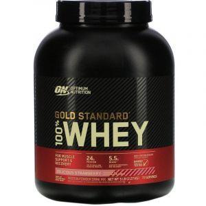 Протеин, Gold Standard 100% Whey, Optimum Nutrition, вкусная клубника, 2.27 кг