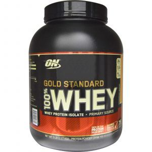 Протеин, Gold Standard 100% Whey, Optimum Nutrition, клубника и банан, 2.27 кг