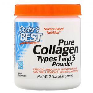 Коллаген тип 1 и 3, Collagen, Doctors Best, порошок, 200