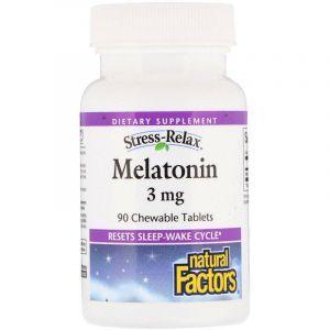 Мелатонин 3 мг, Natural Factors, 90 таблеток