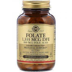 Фолат, Folate, Solgar, 800 мкг, 250 вегетарианских капсул