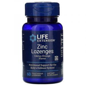 Оксид цинка, леденцы, Zinc, Life Extension, апельсиновый вкус, 60 конфет