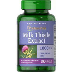 Расторопша, Milk Thistle 4:1 (Silymarin), Puritan's Pride, 1000 мг, 180 гелевых капсул