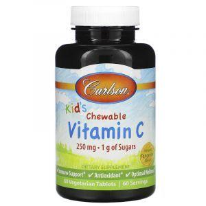 Витамин С жевательный (для детей), Chewable Vitamin C, Carlson Labs, мандариновый вкус, 250 мг, 60 таблеток