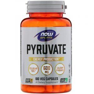 Пируват кальция, Pyruvate, Now Foods, 600 мг, 100 капсул