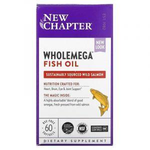 Жир аляскинского лосося, Alaskan Salmon Oil, New Chapter, 1000 мг, 60 капсул