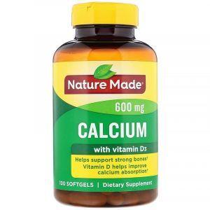 Nature Made, Calcium with Vitamin D 400 IU, 600 mg, 100 Liquid Softgels