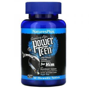 Витамины для парней, Power Teen For Him, Nature's Plus, Source of Life, ягодный вкус, без сахара, 60 таблеток