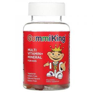 Мультивитамины + минералы для детей, Multi Vitamin + Mineral, GummiKing, виноград, лимон, апельсин, клубника и вишня, 60 жевательных конфет