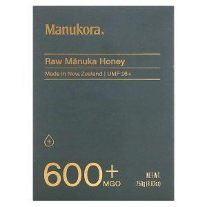 Мед манука сырой, Raw Manuka Honey, Manukora, 600+ MGO, 250 г