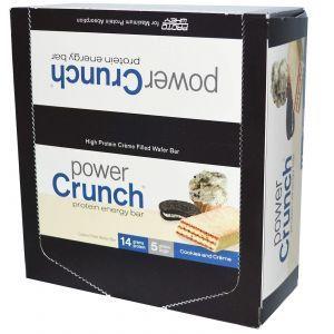 Протеиновые батончики, печенье и крем, Power Crunch Protein Energ, BNRG, 12 шт (40 г)