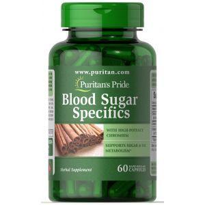 Нормализация уровня сахара в крови, Blood Sugar Specifics, Puritan's Pride, с корицей и хромом, 60 капсул