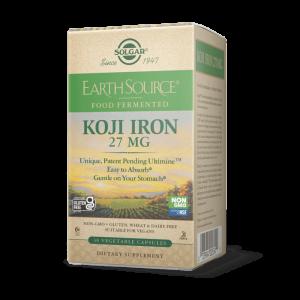 Железо, Koji Iron, Solgar, 27 мг, ферментированное, 30 растительных капсул