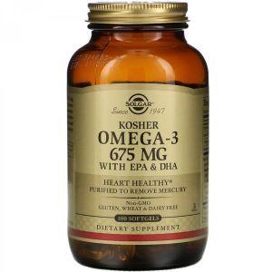 Омега-3, Kosher Omega-3, Solgar, кошерный, 675 мг, 100 гелевых капсул
