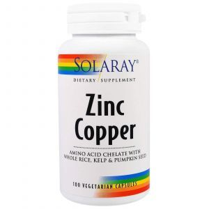 Цинк и медь, Zinc Copper, Solaray, 100 капсул