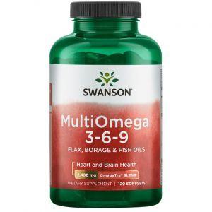 Омега 3-6-9, MultiOmega 3-6-9, Swanson, масло льна, бораго и рыбы, 2400 мг, 120 гелевых капсул