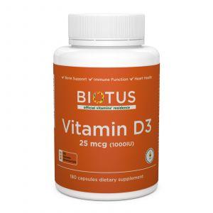 Витамин Д3, Vitamin D3, Biotus, 1000 МЕ, 180 капсул