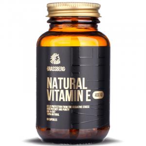 Витамин E, Vitamin E, Grassberg, 400 МЕ, натуральный, 60 капсул